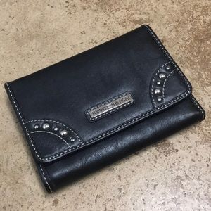 Tommy Hilfiger Faux Leather Black Tri Fold Wallet